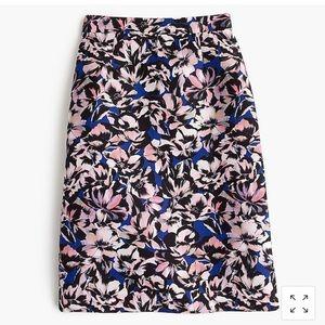 NWT J. Crew A-line skirt in hibiscus print sz 0P